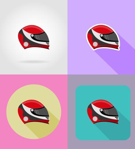 casque pour une icônes de course plat vector illustration