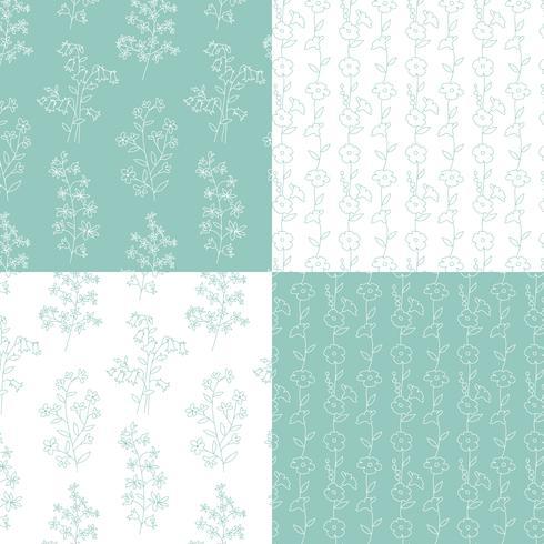 aqua bleu vert et blanc motifs floraux botaniques dessinés à la main vecteur