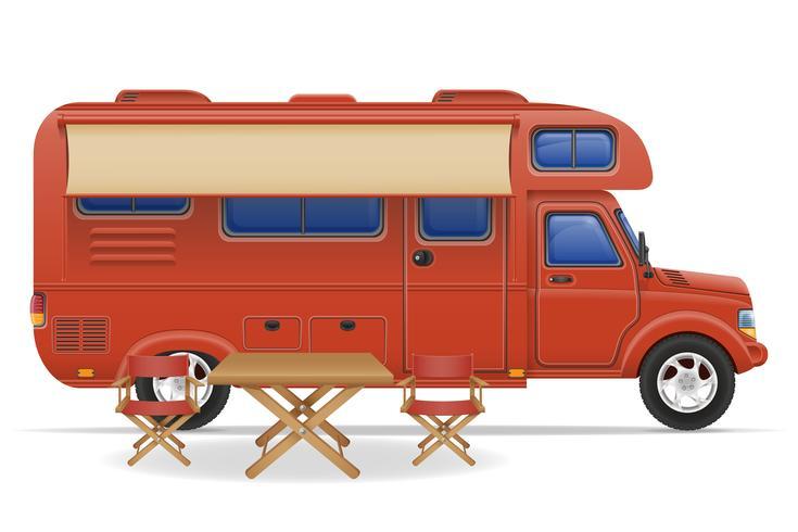 illustration vectorielle de voiture van caravane camping car mobile home vecteur