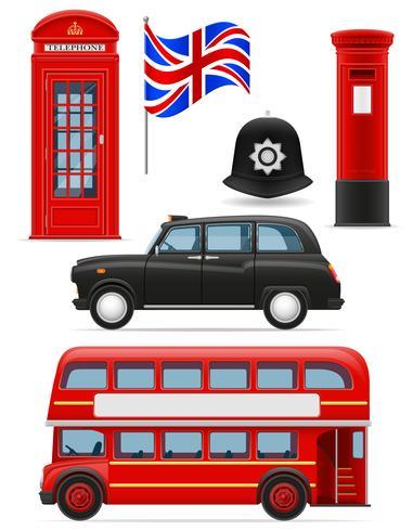Londres mis icônes illustration vectorielle vecteur