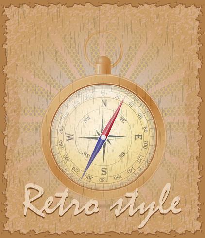 illustration vectorielle de boussole ancienne affiche de style rétro vecteur