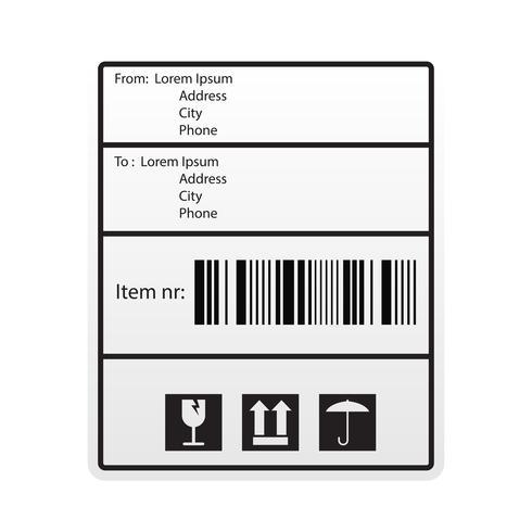 étiquette d'autocollant d'expédition de code à barres pour la compagnie maritime vecteur
