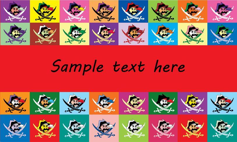 cadre de texte de fond avec des drapeaux multicolores jolly Roger vecteur
