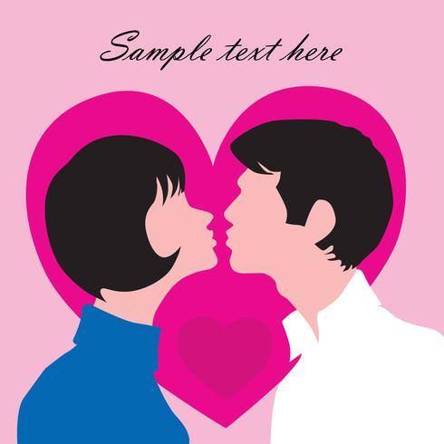 Couple amoureux. Carte de voeux St Valentin vecteur