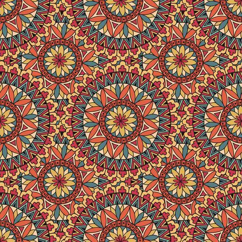 Modèle de tuile de mosaïque abstraite. Ornement circulaire géométrique oriental vecteur