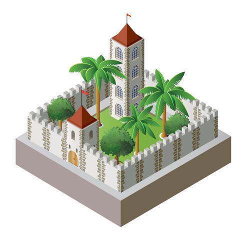 forteresse isométrique vecteur