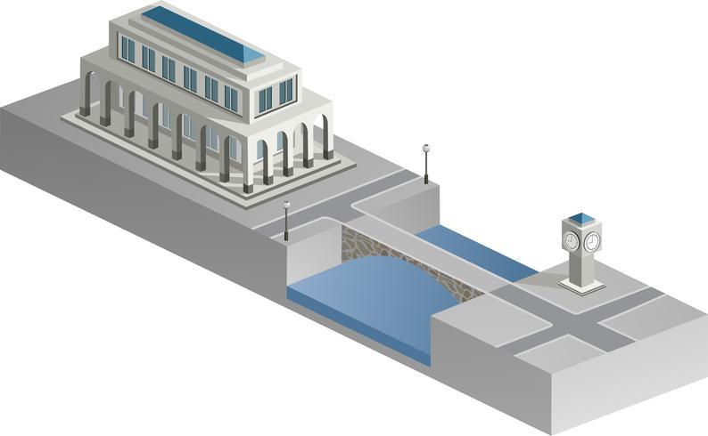 Bâtiment isométrique avec une rivière vecteur