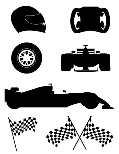 silhouette noire définie racing icons vector illustration