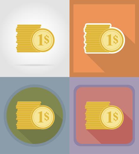 pièces icônes plates vector illustration