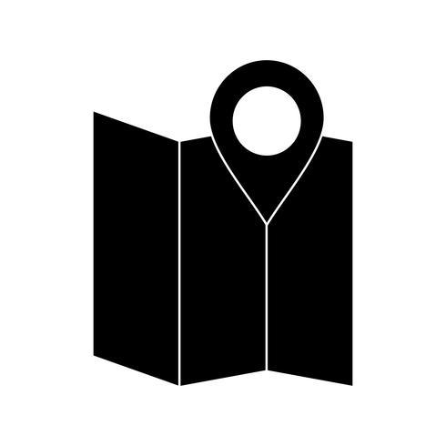 Icône de carte glyphe noir vecteur