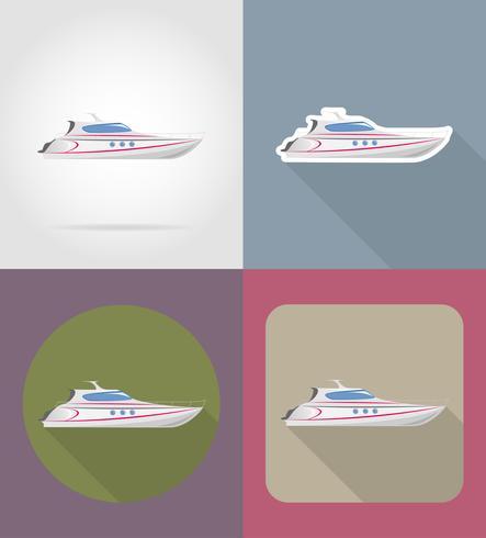 icônes plats yacht vector illustration