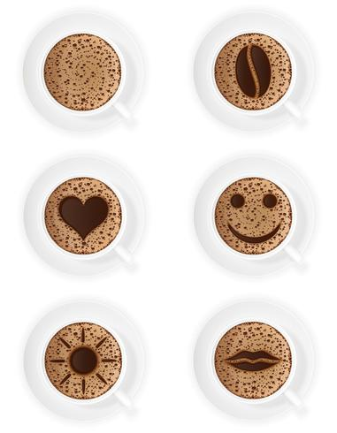 tasse de café crema avec différents symboles vector illustration