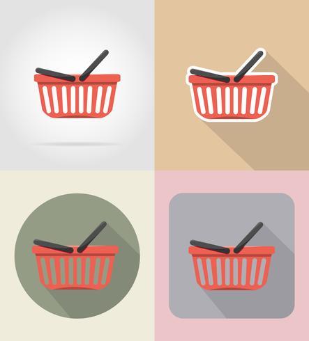panier de produits en supermarché nourriture et objets plats icônes vector illustration