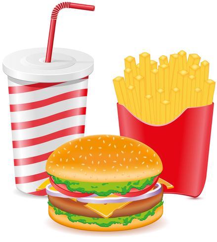 cheeseburger frites pomme de terre et tasse de papier avec soda vecteur