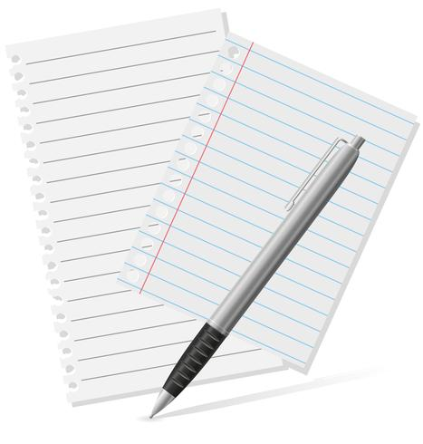 stylo-plume et une illustration vectorielle de papier vecteur