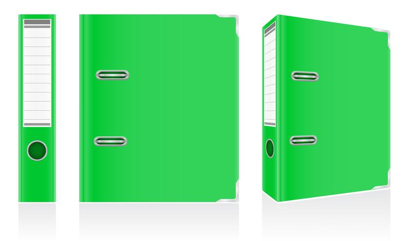 dossier anneaux métalliques de reliure verte à titre d'illustration vectorielle de bureau vecteur