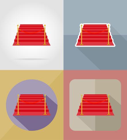 tapis rouge icônes plats vector illustration