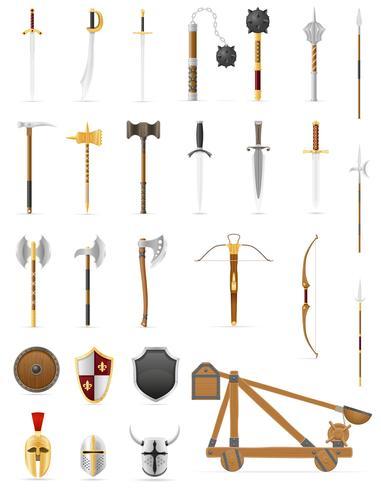 armes de bataille antique mis icônes illustration vectorielle stock vecteur