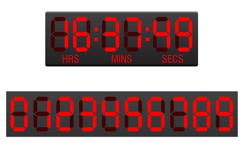 illustration vectorielle de tableau de bord numérique compte à rebours vecteur