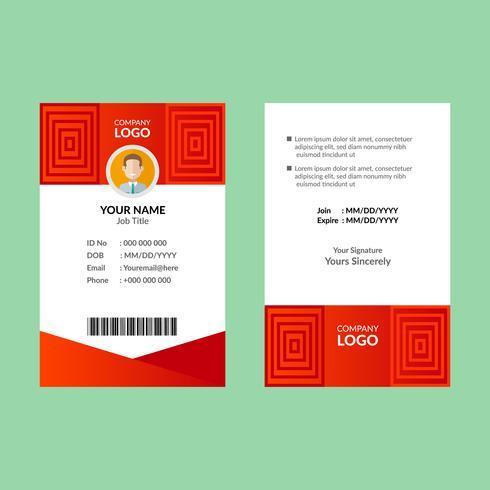 Modèle de carte d'identité rouge vecteur