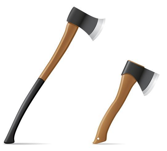 hache d'outil avec illustration vectorielle manche en bois vecteur