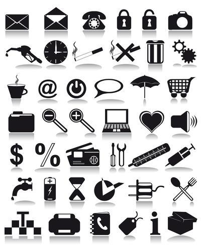 icônes noires vecteur