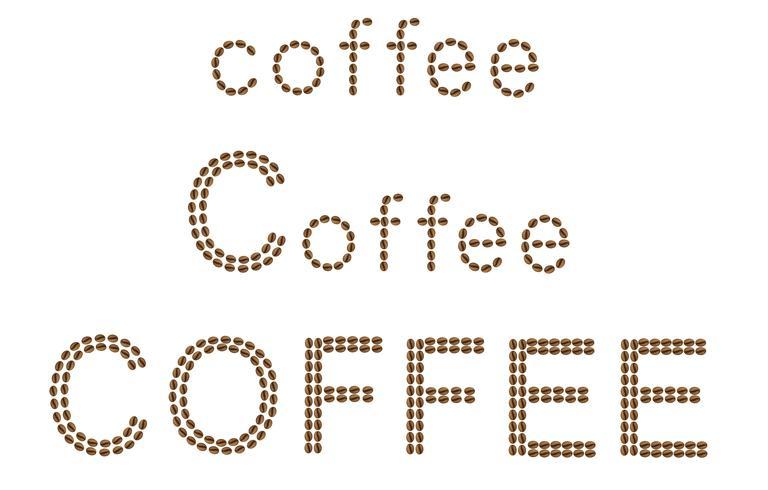 inscription de café est faite de grains vector illustration