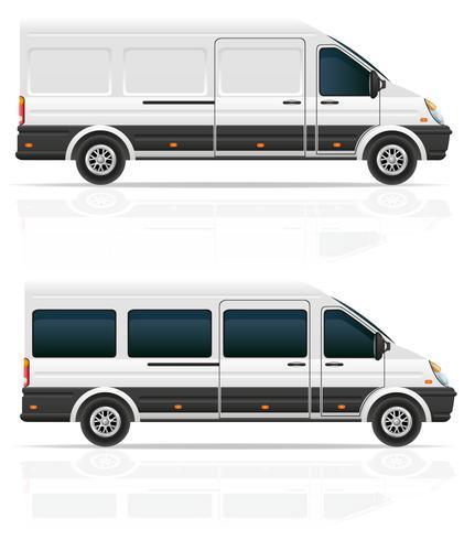 mini bus pour le transport de fret et passagers illustration vectorielle vecteur