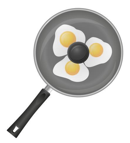 œufs au plat dans une illustration vectorielle de poêle vecteur