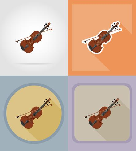 violon icônes plates vector illustration