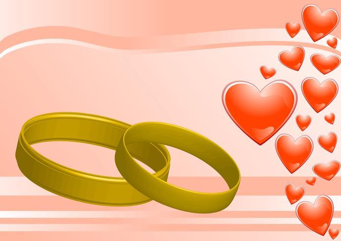 anneaux sur le fond rose et les coeurs vecteur