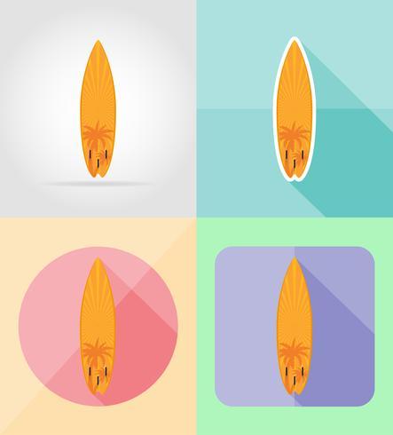 icônes plat de planche de surf vector illustration
