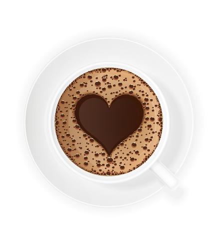 tasse de café crème et symbole coeur illustration vectorielle vecteur