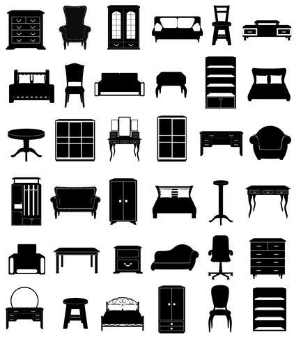 set d'icônes meubles silhouette noire contour vector illustration