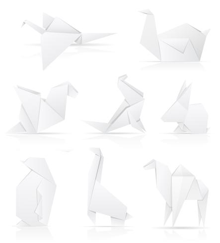 définir des icônes origami papier animaux vector illustration