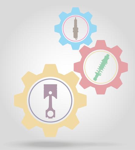 illustration vectorielle de voiture pièces gear mécanisme concept vecteur