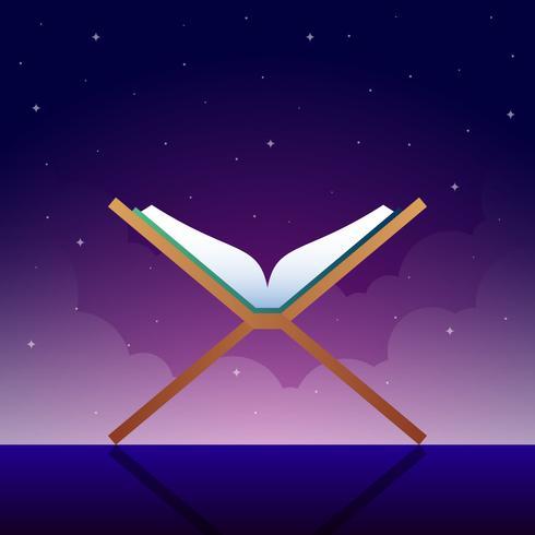 Lire le Coran pendant la nuit vecteur