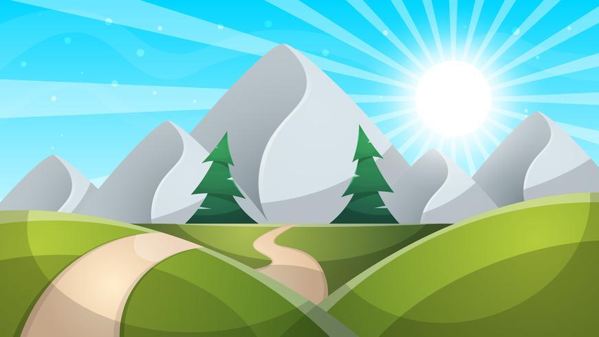 Paysages de dessin animé de jour de voyage. Montagne, sapin, illustation de route. vecteur