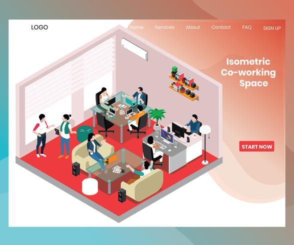 Concept d'art isométrique de l'espace de travail collaboratif pour les personnes vecteur