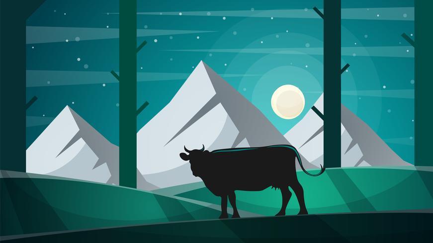 Vache dans la forêt - illustration de paysage de bande dessinée. vecteur
