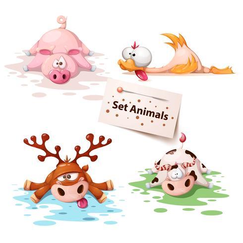 Set animaux dormants - cochon, canard, cerf, vache vecteur
