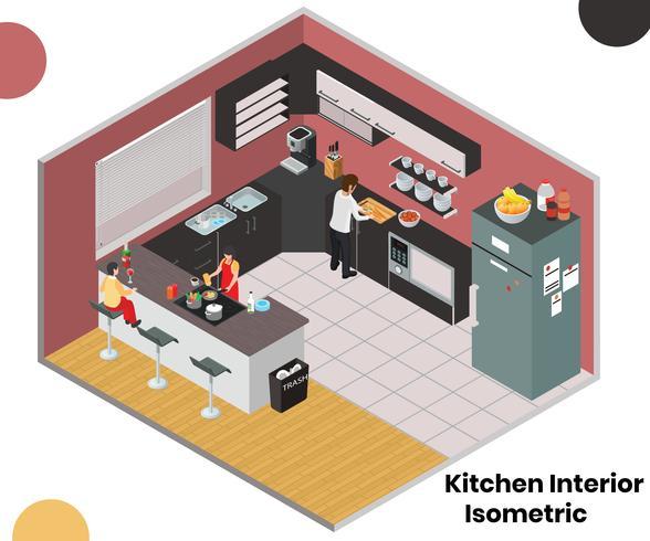 Isométrique Artwork Concept of Kitchen Interior vecteur