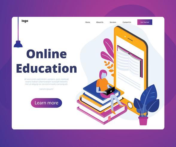 Concept d'illustration isométrique de l'éducation en ligne vecteur