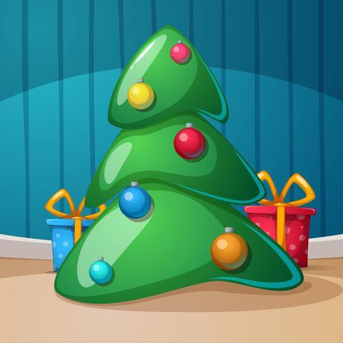 Bonne année, joyeux Noël. Cadeau, sapin, illustration rom. Vecteur eps10.