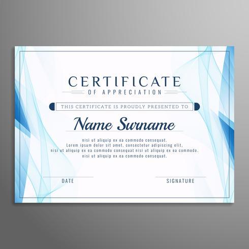 Modèle de certificat abstrait ondulé bleu vecteur