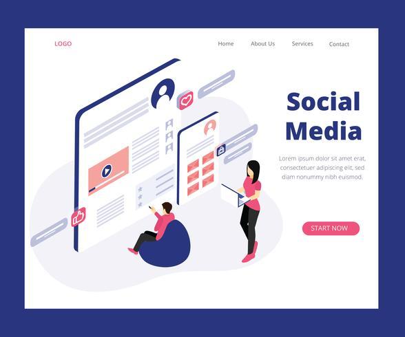 Concept d'art isométrique du marketing des médias sociaux vecteur