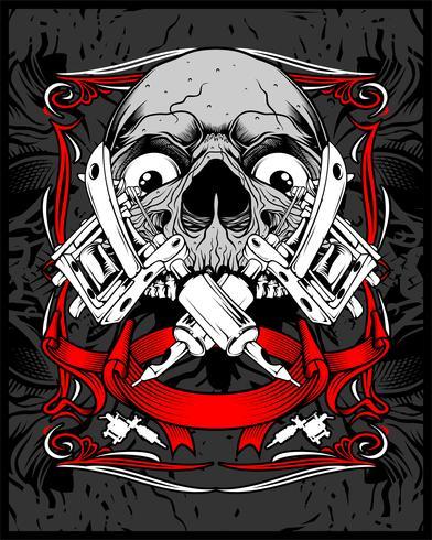 crâne tattoo.vector dessin à la main vecteur