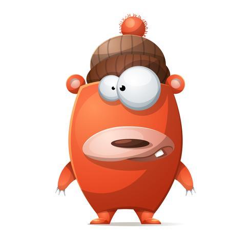 Ours en peluche blanc mignon dans un chapeau. vecteur