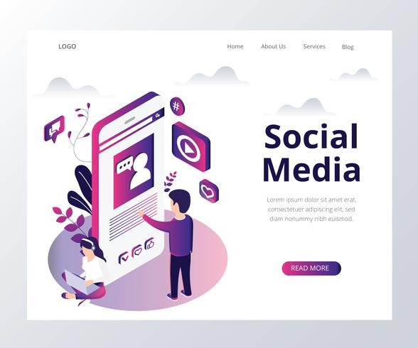 Concept d'illustration isométrique de médias sociaux vecteur