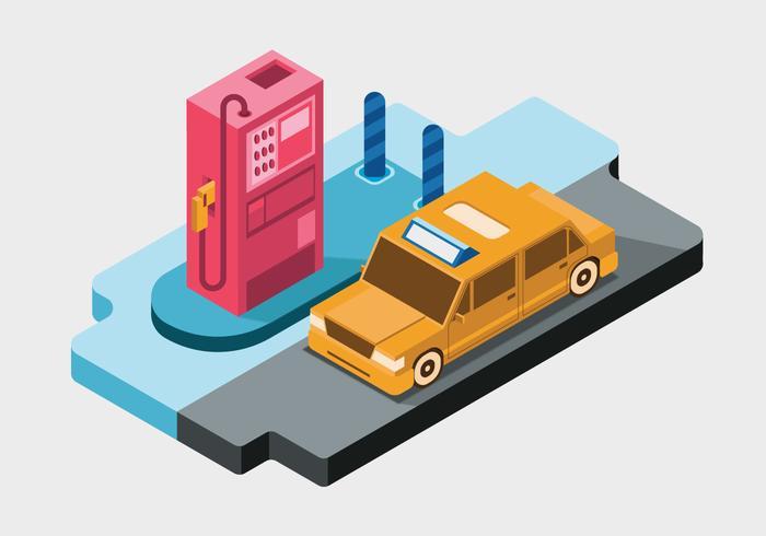 Voiture à la station d'essence Vector Illustration isométrique